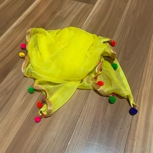 Accessories - Bright yellow colorful 🌈 pompon chiffon scarf